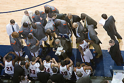 Virginia Cavaliers Head Coach Dave Leitao instructs his team during a time out against FSU.  The Virginia Cavaliers Men's Basketball Team defeated the Florida State Seminoles 73-70 at the John Paul Jones Arena in Charlottesville, VA on February 17, 2007.
