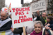 """France, Paris, 15 March 2018. Protest  march by retired . French Government has decided to increase """"Supplementary Social Security Contribution"""" (Contribution Sociale Généralisée) since January 1st of this year, which reduced their retirement pensions."""
