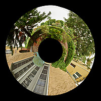 Backyard Urban Garden Little Planet Panorama in St Petersburg.  Composite of 73 images taken with a Fuji X-T1 camera and 16 mm f/1.4 lens (ISO 200, 16 mm, f/16, 1/8 sec). Raw images processed with Capture One Pro, and Autopano Giga Pro.