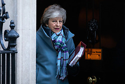© Licensed to London News Pictures. 30/01/2019. London, UK. British Prime Minister Theresa May leaves 10 Downing Street to attend Prime Minister's Questions. Photo credit : Tom Nicholson/LNP