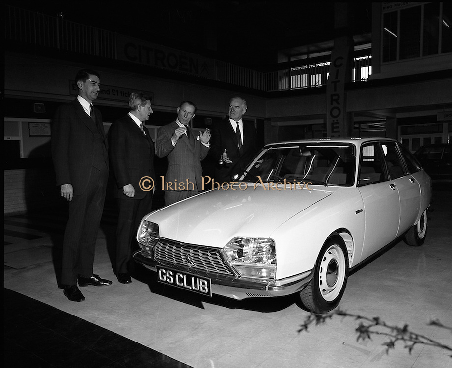 Citroen Launch New Car Range..1973..28.03.1973..03.28.1973..28th March 1973..At a press reception in Leopardstown,Dublin, Citroen launched the 1973 range of new cars which will be available soon..Photographed at the reception at which Citroen Importers Irl Ltd launched  the new range of Citroen Cars were,.(L-R), Mr John Wyse,Central Garage,Cork,Distributors, Mr M Ravenel,Chairman,Citroen,France, French Ambassador Mr Emmanuel D'Harcourt and Mr C G Ashenhurst,Chairman and Managing Director,Citroen Importers (Ireland) Ltd,.