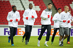 KAZAN, RUSSIA - Wednesday, November 4, 2015: Liverpool's Kolo Toure, Christian Benteke, Dejan Lovren and Martin Skrtel training at the Kazan Arena ahead of the UEFA Europa League Group Stage Group B match against FC Rubin Kazan. (Pic by Oleg Nikishin/Propaganda)