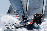 Mean Machine heads upwind during Race 4 of the AUDI Medcup in Marseille