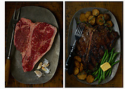 Before & After T-Bone Steak by Rodney Bedsole, a food photographer based in Nashville and New York City.