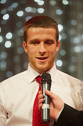 CARDIFF, WALES - Monday, October 8, 2012: Wales' Adam Matthews receives the Young Player of the Year Award during the FAW Player of the Year Awards Dinner at the National Museum Cardiff. (Pic by David Rawcliffe/Propaganda)