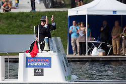 Referee greets Iztok Cop during rowing at Slovenian National Championship and farewell of Iztok Cop, on September 22, 2012 at Lake Bled, Ljubljana Slovenia. (Photo By Matic Klansek Velej / Sportida)