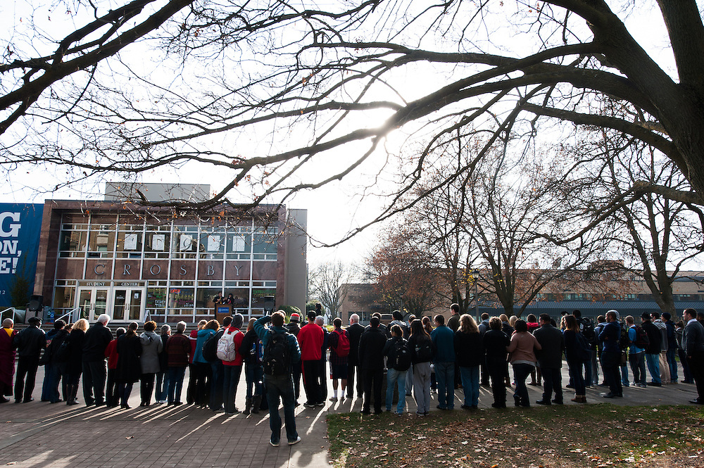Students, faculty, and staff gathered in front of Crosby to take part in International Day of Tolerance events on campus Nov. 16, 2012.<br />
