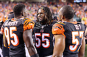 Cincinnati Bengals outside linebacker Vontaze Burfict (55) talks to Cincinnati Bengals defensive end Wallace Gilberry (95) and Cincinnati Bengals outside linebacker Vincent Rey (57) on the sideline during the NFL AFC Wild Card playoff football game against the Pittsburgh Steelers on Saturday, Jan. 9, 2016 in Cincinnati. The Steelers won the game 18-16. (©Paul Anthony Spinelli)