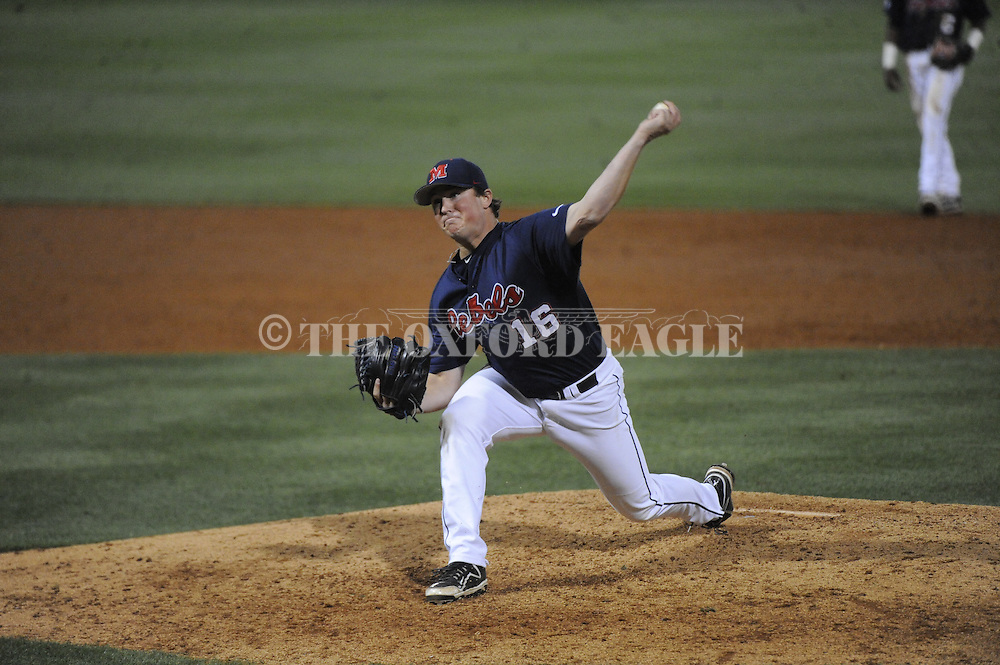 Ole Miss pitcher Matt Denny (16) pitches vs. Central Arkansas in college baseball action on Tuesday, April 21, 2015.