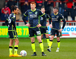 Ollie Clarke of Bristol Rovers and teammates cut dejected figures - Mandatory by-line: Robbie Stephenson/JMP - 02/04/2018 - FOOTBALL - Highbury Stadium - Fleetwood, England - Fleetwood Town v Bristol Rovers - Sky Bet League One