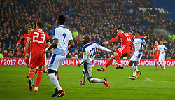 CARDIFF, WALES - Tuesday, November 14, 2017: Wales' Tom Lawrence scores the first goal during the international friendly match between Wales and Panama at the Cardiff City Stadium. (Pic by David Rawcliffe/Propaganda)