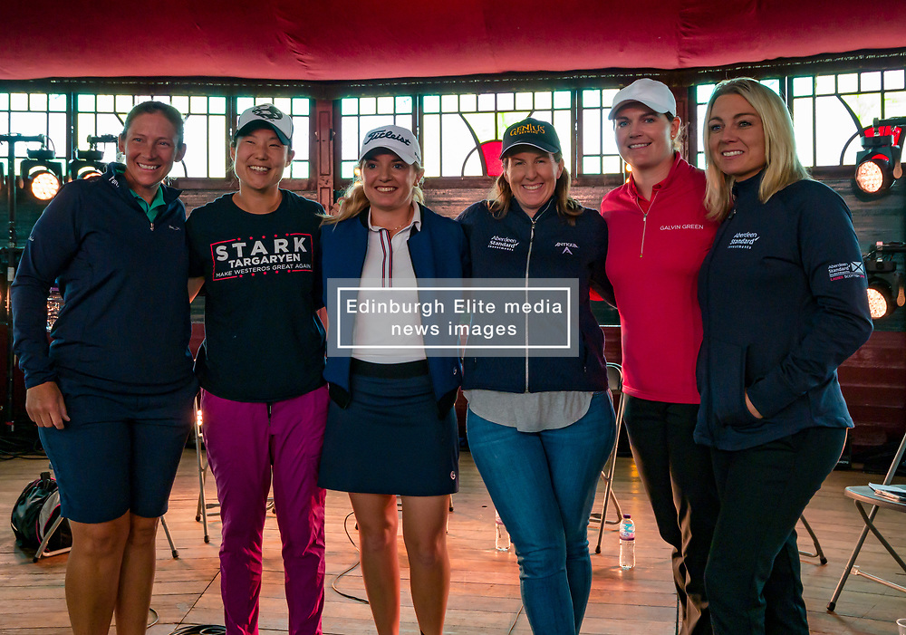 Pictured: Fringe by the Sea, North Berwick, East Lothian, Scotland, United Kingdom, 06 August 2019. Top professional female golfers competing in the Aberdeen Standard Investments Ladies Scottish Open this week appear on a panel and take questions from the audience , as part of a podcast called On the Dance Floor. Pictured: from L to R Angela Stanford (USA), Tiffany Joh (USA), Bronte Law (UK), Beth Allen (USA), Caroline Masson (Germany), sports broadcaster Emma Dodds.<br /> <br /> Sally Anderson   EdinburghElitemedia.co.uk