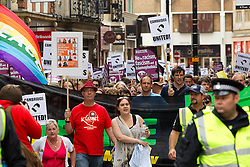 © licensed to London News Pictures. Cambridge, UK  09/07/2011. A coalition of opposition march against the EDL in Cambridge. Please see special instructions for usage rates. Photo credit should read Joel Goodman/LNP