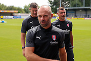 Rotherham United manager Paul Warne walking off the pitch during the EFL Sky Bet League 1 match between AFC Wimbledon and Rotherham United at the Cherry Red Records Stadium, Kingston, England on 3 August 2019.