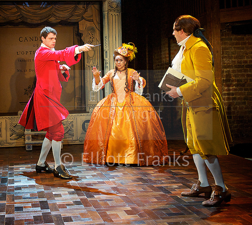 Candide<br /> The Royal Shakespeare Company <br /> a new play by Mark Ravenhill<br /> inspired by Voltaire<br /> directed by Lyndsey Turner<br /> at The Swan Theatre, Stratford-upon-Avon, Great Britain <br /> Press photocall<br /> 3rd September 2013 <br /> <br /> Sophie's party scene<br /> <br /> Ellie Beaven as Emma<br /> Sarah Ridgeway as Sophie<br /> Katy Stephens as Sarah <br /> Badria Timimi as Eva<br /> Harry McEntire as Ben<br /> Ciaron Owens as Adam<br /> Ian Redford as Ted<br /> Steffan Rhodri as Mike<br /> <br /> <br /> Ishia Bennison as Countess<br /> Richard Goulding as Playwright <br /> Matthew Needham as Candide<br /> <br /> Boat scene<br /> <br /> Kevin Harvey as Jaques<br /> Ciaran Owens as Sailor<br /> Ian Redford as Pangloss<br /> Dwane Walcott as Candide - the actor <br /> <br /> <br /> <br /> <br /> Photograph by Elliott Franks