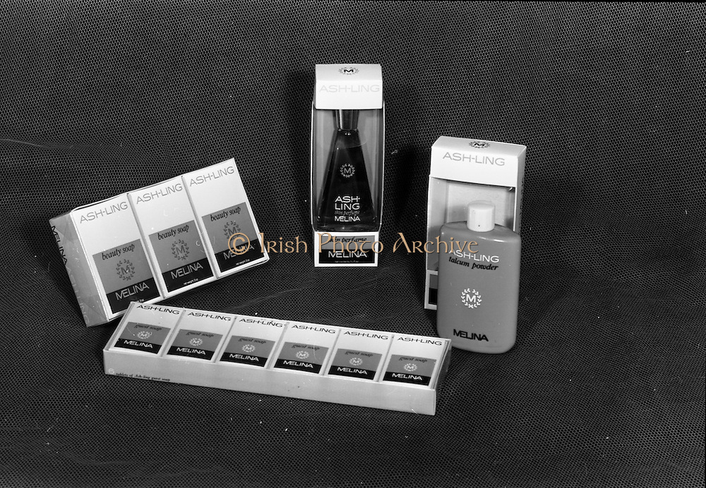 22-23/06/1965<br /> 06/22-23/1965<br /> 22-23 June 1965<br /> Winning packages for the Irish Packaging Institute. Ash-ling Melina soap, perfume and talcum powder.