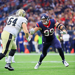 Nov 29, 2015; Houston, TX, USA; Houston Texans defensive end J.J. Watt (99) against the New Orleans Saints during the first quarter of a game at NRG Stadium. Mandatory Credit: Derick E. Hingle-USA TODAY Sports