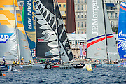 SAP, Emirates Team New Zealand and JP Morgan BAR line up for a start.  Day four of the Extreme Sailing Series Regatta at Nice. 5/10/2014