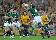 Chris Henry makes a grab for the high ball for Ireland during action from the Rugby Union Test Match played between Australia and Ireland at Suncorp Stadium (Brisbane) on Saturday 26th June 2010 ~ Australia (22) defeated Ireland (15) ~ © Image Aura Images.com.au ~ Conditions of Use: This image is intended for Editorial use as news and commentry in print, electronic and online media ~ Required Image Credit : Steven Hight (AURA Images)For any alternative use please contact AURA Images