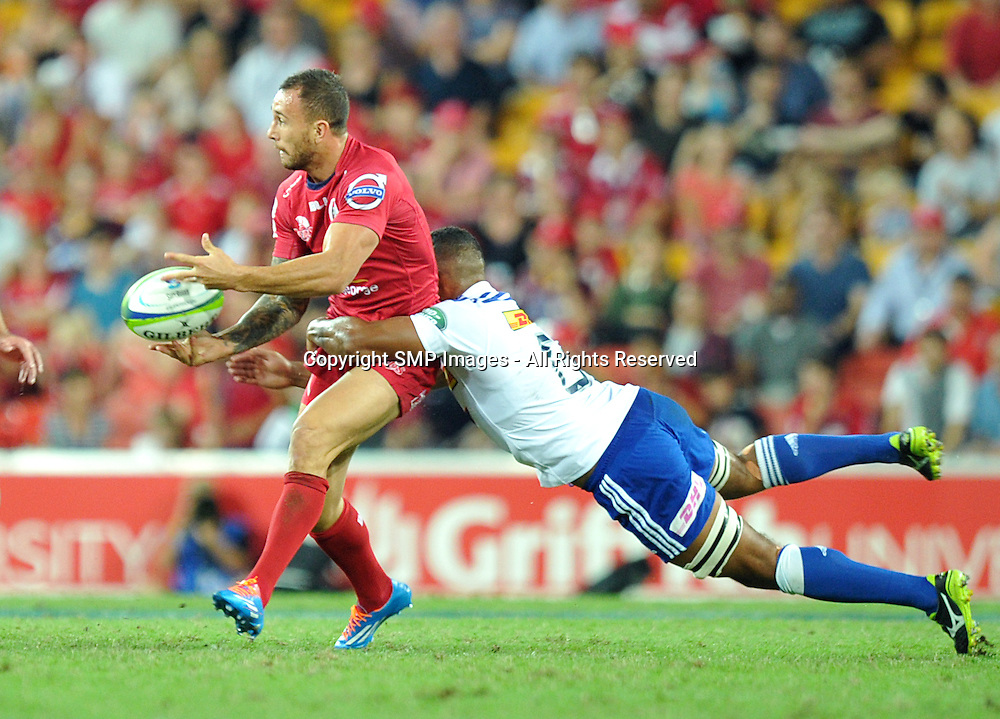 QUADE COOPER - REDS V STORMERS - 2014 SUPER RUGBY ROUND 7 - 29March2014, action from round 7  of the Super Rugby competition, between the Queensland Reds and The Western Stormers, being played at Suncorp Stadium, Brisbane, Australia.  This image is for Editorial Use Only. Any further use or individual sale of the image must be cleared by application to the Manager Sports Media Publishing (SMP Images). PHOTO : Scott Davis SMP IMAGES