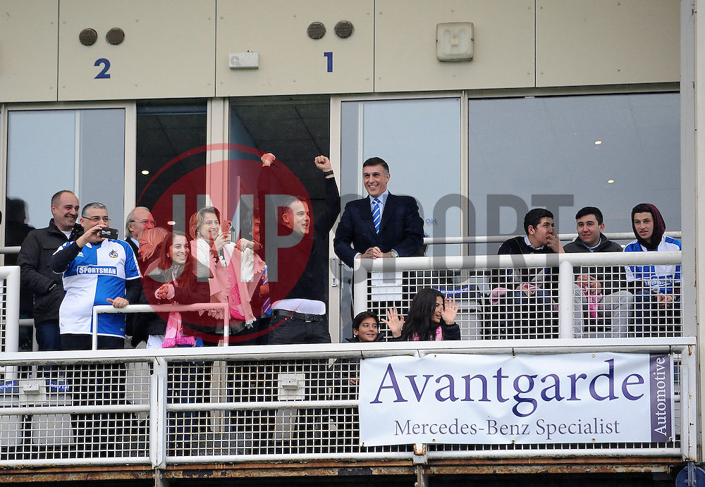 Bristol Rovers new owner Wael Al-Qadi salutes the fans to the fans - Mandatory byline: Neil Brookman/JMP - 20/02/2016 - FOOTBALL - Memorial Stadium - Bristol, England - Bristol Rovers v Morecambe - Sky Bet League Two