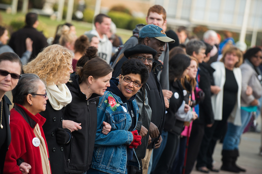 Students, faculty, and staff gathered in front of Crosby to take part in International Day of Tolerance events on campus Nov. 16, 2012.<br /> <br /> Photo by Rajah Bose
