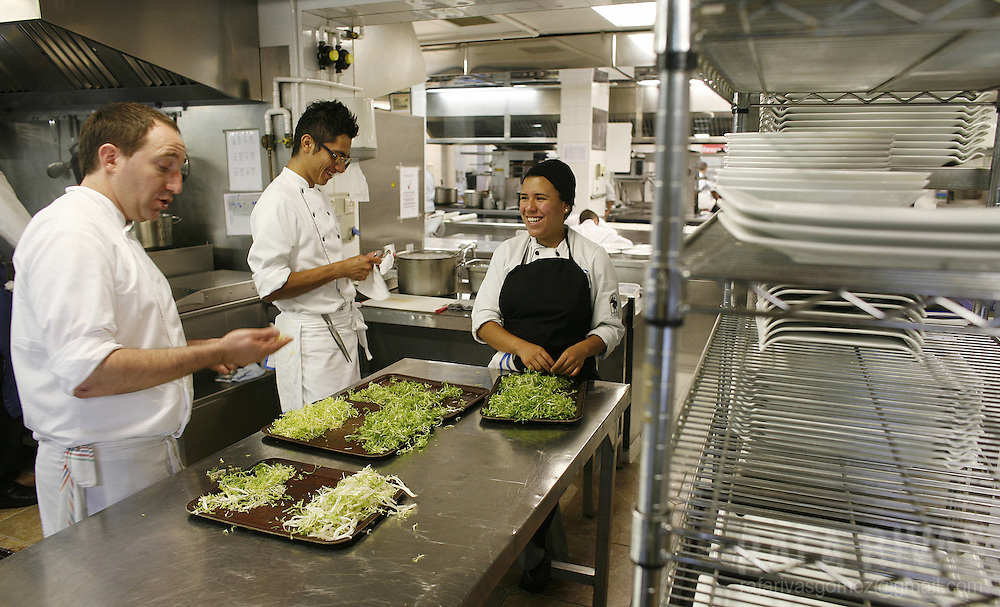 Young chefs work at the Berasategui restaurant, on July 03, 2008, in the northern Spanish Basque village of Lasarte.