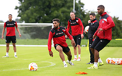 Mark Little of Bristol City passes the ball past Scott Golbourne of Bristol City as Bristol City Manager Lee Johnson watches during Pre-Season Training ahead of the Sky Bet Championship Season - Mandatory by-line: Robbie Stephenson/JMP - 29/06/2016 - FOOTBALL - Bristol City Training Ground - Bristol, United Kingdom - Bristol City - Bristol City Pre-Season Training