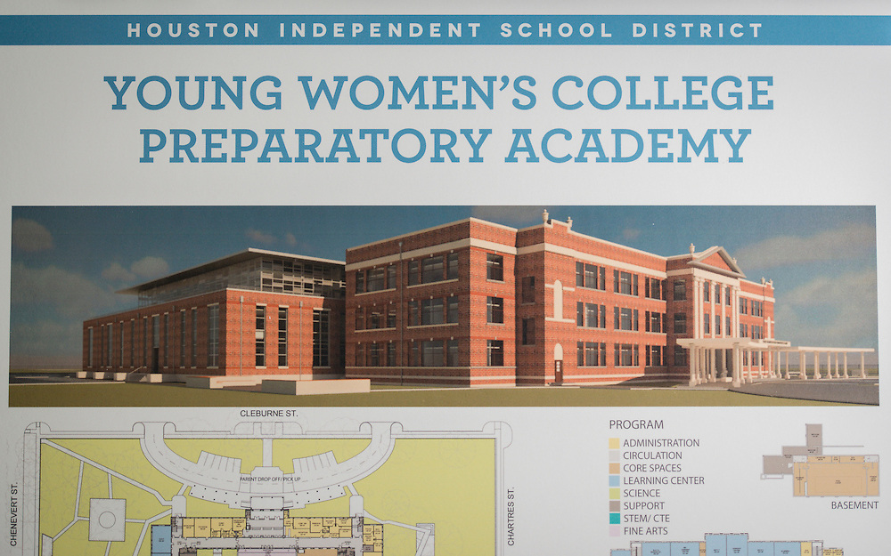 Houston ISD staff, architects and community members gather for the initial Bond meeting for the ne wYoung Women's College Preparatory Academy, August 11, 2015.