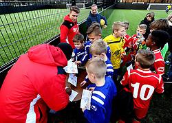 Mark Little and Luke Freeman of Bristol City sign autographs - Mandatory by-line: Robbie Stephenson/JMP - 23/11/2016 - FOOTBALL - South Bristol Sports Centre - Bristol, England - BCCT EFL Kids Cup
