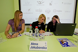 Tjasa Seme, Alena Yakubovska and Ana Rebov at Press conference of 25th International tournament MTM Narodni dom, on April 3, 2012 at Unija racunovodska hisa d. d., Brezovica, Slovenia. (Photo By Matic Klansek Velej / Sportida.com)
