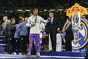 Real Madrid Forward Cristiano Ronaldo celebrates with his medal and punches the air to the fans during the Champions League Final between Juventus and Real Madrid at the National Stadium of Wales, Cardiff, Wales on 3 June 2017. Photo by Phil Duncan.