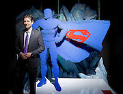 THE ART OF THE BRICK: DC SUPER HEROES <br /> designed by Nathan Sawaya <br /> South Bank, London, Great Britain <br /> 28th February 2017 <br /> <br /> London debut opens on 1st March 2017<br /> <br /> <br /> Nathan Sawaya with Superman <br /> Artist <br /> <br /> Together with Warner Bros. and DC Entertainment, Nathan Sawaya has created the world&rsquo;s largest collection of artwork inspired by DC's Justice League, including Batman, Superman, Wonder Woman, alongside DC Super-Villains the Joker, Harley Quinn and more.<br />  <br /> <br />  <br /> THE ART OF THE BRICK: DC SUPER HEROES exhibition includes more than 120 original pieces, created exclusively from LEGO bricks, including a life-size Batmobile (5.5 meters) and built from half a million standard pieces. Sawaya has captured on a real scale some of the most iconic Super Heroes and Super-Villains from DC, exploring more than 80 years of history.<br /> <br /> <br /> <br /> Photograph by Elliott Franks <br /> Image licensed to Elliott Franks Photography Services