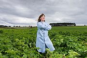 Thursday 3rd August 2017, Aberdeen, Scotland - Forensics Officer Lorna Dawson at Knockquarn Farm potato field.<br /> <br /> Pictured: Lorna Dawson<br /> <br /> (Photo: Ross Johnston/Newsline Media)
