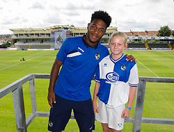 Bristol Rovers' Ellis Harrison has his photo taken with a fan - Photo mandatory by-line: Dougie Allward/JMP - Mobile: 07966 386802 27/07/2014 - SPORT - FOOTBALL - Bristol - Bristol Rovers - - Memorial Stadium - Fun Day