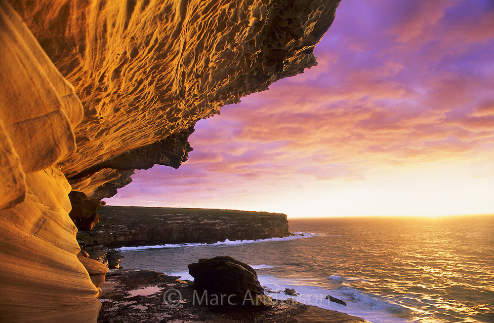 Beautiful eroded sandstone at sunrise, Royal National Park, Australia.