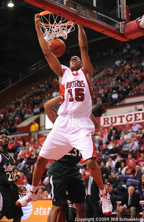 Mar 7, 2009; Piscataway, NJ, USA; Rutgers forward J.R. Inman (15) scores a slam dunk during the first half of Rutgers' senior day game against South Florida at the Louis Brown Athletic Center.  Rutgers won 45-42.