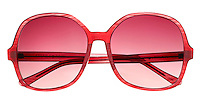 Steve Madden red sunglasses on white background