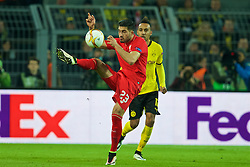 DORTMUND, GERMANY - Thursday, April 7, 2016: Liverpool's Emre Can in action against Borussia Dortmund during the UEFA Europa League Quarter-Final 1st Leg match at Westfalenstadion. (Pic by David Rawcliffe/Propaganda)