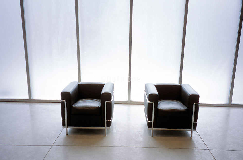 modern chairs in brightly lit room
