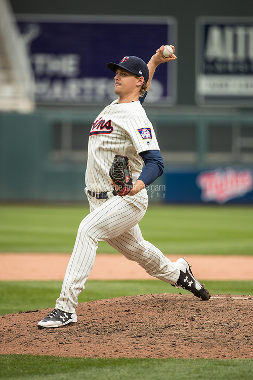 MINNEAPOLIS, MN- APRIL 5: Justin Haley #58 of the Minnesota Twins pitches during his MLB debut against the Kansas City Royals on April 5, 2017 at Target Field in Minneapolis, Minnesota. The Twins defeated the Royals 9-1. (Photo by Brace Hemmelgarn) *** Local Caption *** Justin Haley