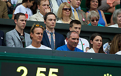 LONDON, ENGLAND - Saturday, July 5, 2014: Actor Jim Parsons, who plays Sheldon Cooper on the CBS comedy The Big Bang Theory, sits in Eugenie Bouchard's players' box during the Ladies' Singles Final match on day twelve of the Wimbledon Lawn Tennis Championships at the All England Lawn Tennis and Croquet Club. (Pic by David Rawcliffe/Propaganda)