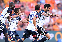 December 17, 2017 - Brisbane, QUEENSLAND, AUSTRALIA - Rhys Wiliams of Melbourne Victory (4, right) celebrates after scoring a goal during the round eleven Hyundai A-League match between the Brisbane Roar and the Melbourne Victory at Suncorp Stadium on Sunday, December 17, 2017 in Brisbane, Australia. (Credit Image: © Albert Perez via ZUMA Wire)