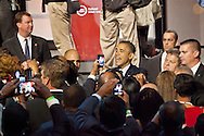 New Orleans, Louisiana, July 25, 2012, US President Barack Obama greets supporters after his speech at the National Urban League convention in the Ernest N. Morial Convention Center.