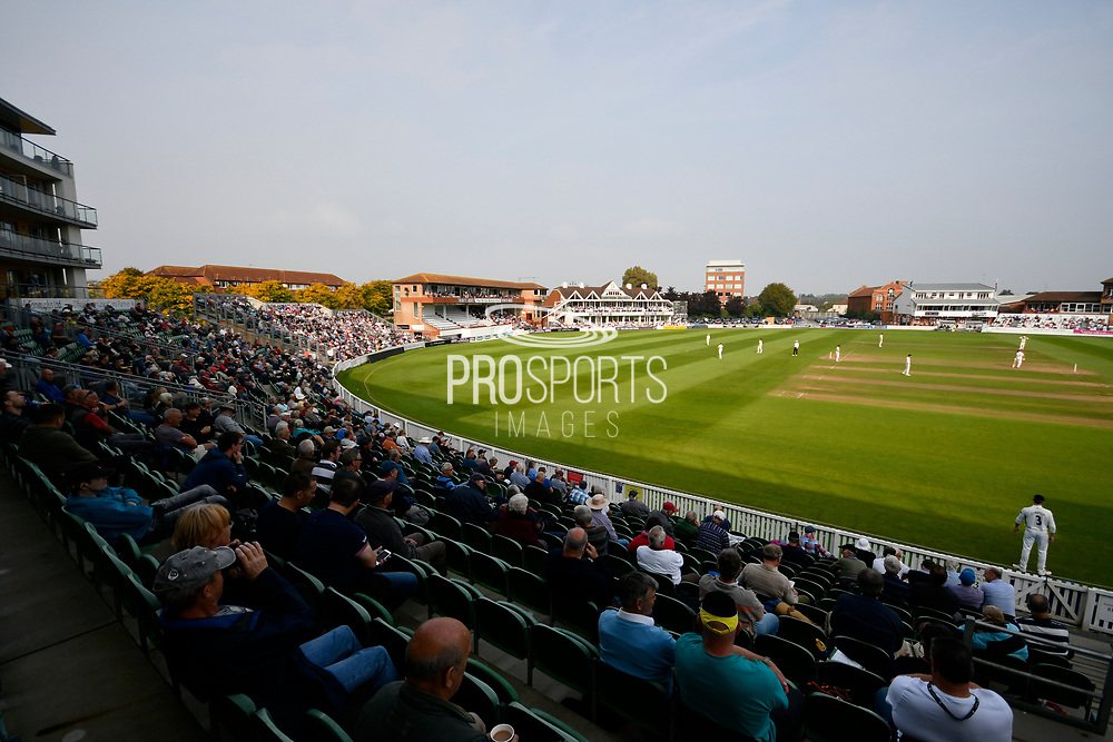Hazy sunshine at The Cooper Associates County Ground stadium during the Specsavers County Champ Div 1 match between Somerset County Cricket Club and Middlesex County Cricket Club at the Cooper Associates County Ground, Taunton, United Kingdom on 26 September 2017. Photo by Graham Hunt.