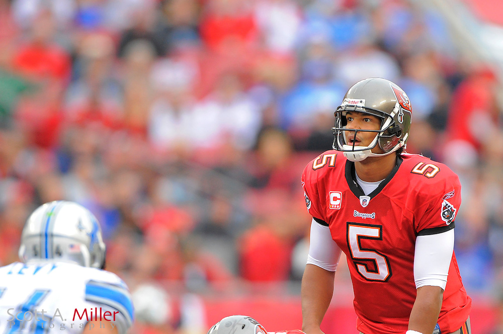 Tampa Bay Buccaneers quarterback Josh Freeman (5) during the Bucs 23-20 loss to the Detroit Lions at Raymond James Stadium on Dec. 19, 2010 in Tampa, Florida...©2010 Scott A. Miller