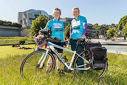 Freedom from Torture supporters are taking on a mammoth cycle ride across Britain in aid of torture survivors who have been forced to flee their home country and are rebuilding their lives in the UK. <br /> <br /> The ride, beginning in Hastings on the 1 July and finishing in Edinburgh on 28 July, is broken down into 19 stages; Moira Dunworth, aged 65, and Shelagh King, a semi-retired doctor aged 64, are riding the whole way and other participants have signed up to some of the stages. Supporters across the country who are riding include Violet Hejazi, a young Syrian refugee who learnt to ride a bike specifically to take part in 'Cycle against Torture 2019'. <br /> <br /> Pictured L to R: Moira Dunworth and Shelagh King