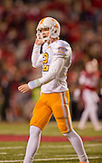 Nov 12, 2011; Fayetteville, AR, USA;  Tennessee Volunteers quarterback Matt Simms (12) looks to the sidelines during a game against the Arkansas Razorbacks at Donald W. Reynolds Razorback Stadium. Arkansas defeated Tennessee 49-7. Mandatory Credit: Beth Hall-US PRESSWIRE