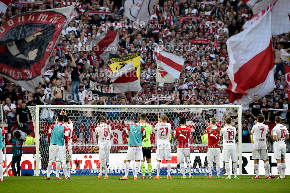 12.04.2015, Mercedes Benz Arena, Stuttgart, GER, 1. FBL, VfB Stuttgart vs SV Werder Bremen, 28. Runde, im Bild Schlussjubel Jubel, Jubel, Freude, Emotion nach Sieg vor dem Fanblock Fankurve Fans // during the German Bundesliga 28th round match between VfB Stuttgart and SV Werder Bremen at the Mercedes Benz Arena in Stuttgart, Germany on 2015/04/12. EXPA Pictures &copy; 2015, PhotoCredit: EXPA/ Eibner-Pressefoto/ WEBER<br /> <br /> *****ATTENTION - OUT of GER*****