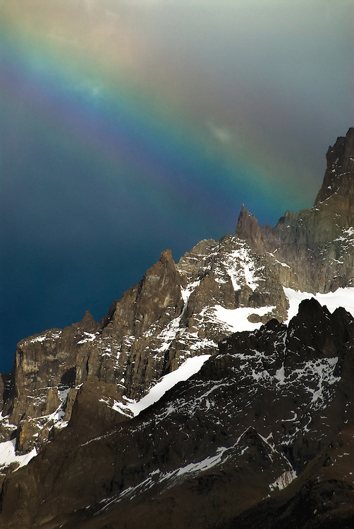 Rainbow over Punta Bariloche in Torres Del Paine National Park, Patagonia, Chile.